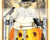 PRIMITIVE  HALLOWEEN POSTCARDS - Hocus Pocus