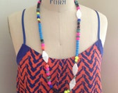 Long Neon Multi-Colored Modern Tribal Necklace