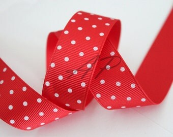 """5 Yards of 3/8"""" (0.375 inch=10mm)   White Polka Dot in Red Grosgrain Ribbon for Jewelry, Accessories, Clothing"""