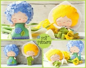 PDF Pattern. The Hydrangea and the Arum lily. Plush Doll Pattern, Softie Pattern, Soft felt Toy Pattern.