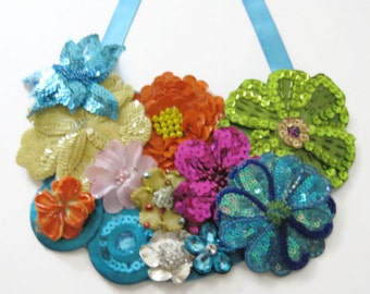 Bib Necklace Multi Colored Bling Floral