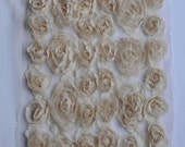 1 Yard Chiffon Rose Lace Trim Appliqué Beige 3D Bridal Wedding Mesh Tulle 6 Row Rose LA012