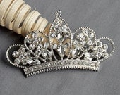 10 Rhinestone Button Embellishment Crystal TIARA CROWN Bridal Wedding Brooch Bouquet Invitation Cake Hair Comb Pin BT550