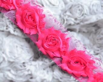 1/2 Yard Shabby Rose Trim Shabby Flower Shabby Frayed Chiffon Flowers Lace Applique Fuchsia Hot Pink Wedding Bridal Hair LA074