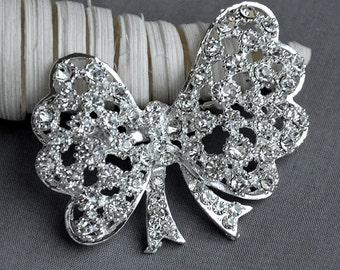 Rhinestone Brooch Component Crystal Butterfly Bow Embellishment Wedding Broach Bouquet Cake Hair Comb Shoe Clip Supplies BR200