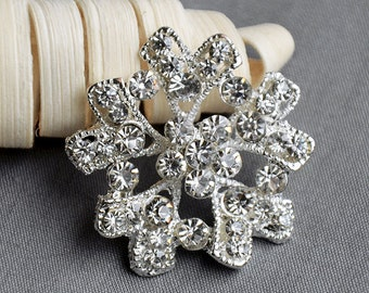 5 Large Rhinestone Button Embellishment Pearl Crystal Wedding Brooch Bouquet Invitation Cake Decoration Hair Comb Clip BT525