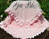 Minky Blanket-Pink Minky Swirl-Satin Ruffle-Personalized-Baby Girl-Toddler Blanket-Stroller-Crib Blanket-Baby Blanket-Pink Blanket