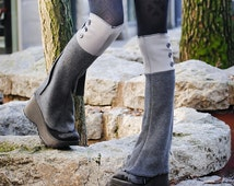 Gray Polar Fleece Steampunk Spats, Knee High Shoe Boot Covers Leg Warmers, Victorian Costume Couture Clothing Accessories