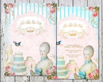 Marie Antoinette Printable Birthday card or Invitation DIGITAL Let Them Eat Cake
