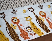 Vintage Border Fabric - Mod Mid Century Cats - By the Yard