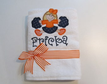 Girls Bath, Beach or Pool White Terry Cloth Towel with Cheerleader Applique and Monogram