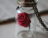 Beauty and the Beast Necklace Rose in a Vial Belle Necklace Fairy Tale Necklace