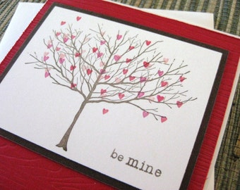 be mine with tree of hearts - handmade Valentines Day/Wedding/Anniversary Card