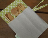 Reusable bamboo cutlery and roll up carrying pouch  - Unbleached cotton and lime moon dots