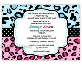 Blue And Pink Leopard Baby Shower Invitation for Boy or Girl..Neutral (Digital File)