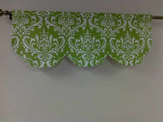 RTS, Lined scallop shaped valance, 42 x 16 inches, chartreuse green and white, damask,