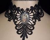 Unique Sparkle Cab Venise Black Lace Victorian Venise Necklace Choker