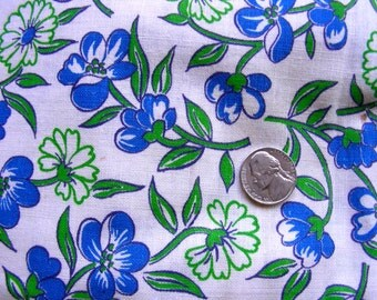 Vintage Full FEEDSACK Cotton Quilting Fabric - STILLaSACK - Beautiful Royal Blue & Lime Green Flowers