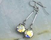 VINTAGE SPARKLES antique silver long dangler earrings with vintage Swarovski crystals