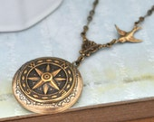 locket necklace - GUIDANCE - antiqued brass vintage style compass locket necklace jewelry for women