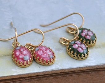 PETITE FLOWER EARRINGS gold filled earrings with vintage lampwork red or green flower cabs