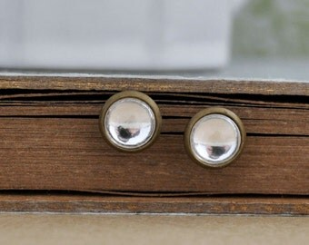 CLEAR MOON Swarovski clear crystal color glass cabs antiqued brass stud earrings with steel posts