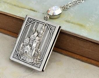 silver locket necklace, castle locket, fairy tale locket, ONCE UPON A TIME, castle locket necklace, the magic kingdom,