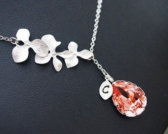 Personalized Necklace Bridesmaid Gift Orchid Trio Flower with Swarovski Tear drop and initial leaf charm Necklace , For Her. Gift for Her