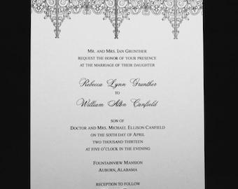 Gothic Architecture Wedding Invitation Set - Ornamental Iron Motif, Modern Stationery Set, Black and White Invitation