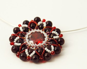 Beaded Garnet Star Pendant With Cubic Zirconia Garnet  Japanese and Czech seed beads