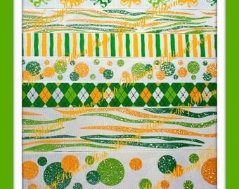 New 20 yards 3/8 7/8 1.5 St Pattys Day GLITTER ZEBRA Green yellow on White Grosgrain Ribbon sewing Hair Bows Scrap patricks day 2 yds ea