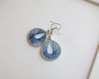 Denim Blue Handwoven Thread Earrings - Round