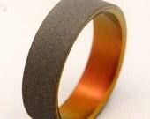 Titanium Wedding Band, wedding rings, titanium rings, men's rings, women's rings, commitment bands - SANDBLASTED SUNSET