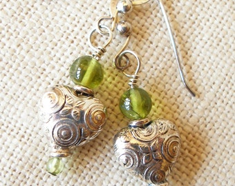 Silver Heart Earrings Touched with Peridot
