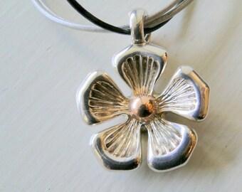 SALE Sterling Silver Flower Pendant Hidden All Love Begins & Ends Message
