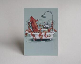 Kraken Bath Time Post Card