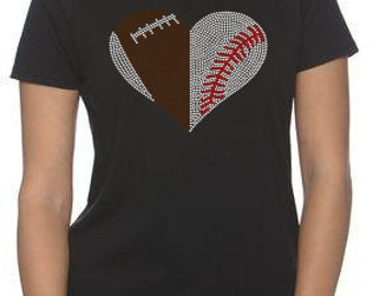 Football and Baseball or Softball Rhinestone Heart Women's Tshirt