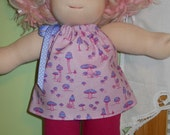 Pink Mushrooms Pillowcase Top and Fuchsia Leggings Set - Waldorf Doll Clothes -15 Inch Bambo Size - G