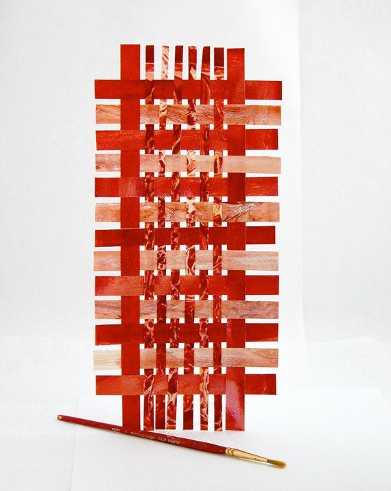 Red Paper Weaving- Original Geometric Woven Art- Contemporary Decor- Rectangle