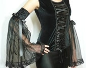 Gothic Diva Armwarmers, Black Velvet Gloves, Dark Wedding, Vampire Sleeves with Organza Frill, Noir, Lady - estylissimo