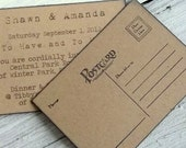 Postcard mailable save the date rustic invitation, set of 14