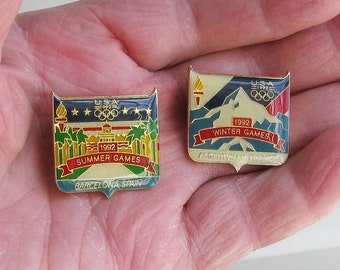 Enameled 1992 Winter and Summer Olympic Games pins, REDUCED