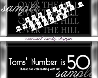Tombstone Over The Hill Birthday Candybar Wrappers Birthday Party Favors