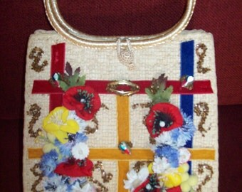 SALE Vintage Hand Decorated Original Purse by Caron of Houston Texas Was 42.00
