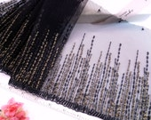 Black lace, Lace trim, Embroidered tulle, Embroidered lace, Lolita lace, Gold lace,  2 yards BK117