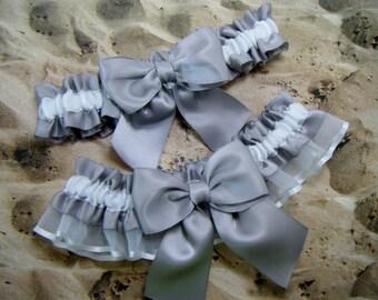 Gray Light Satin White Organza Wedding Bridal Garter Toss Set