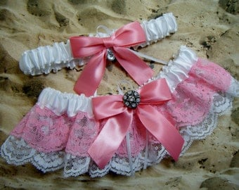 Pink White Satin Lace Double Ruffle Rhinestone Wedding Garter Bridal Set