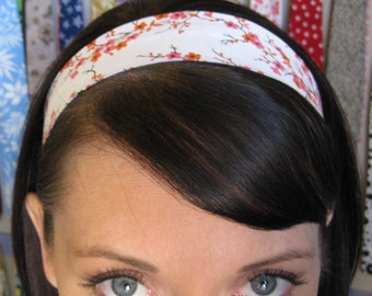 White Stay Put Headband w/ Orange and Pink Flowers