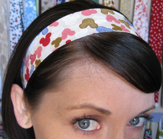 Off-white Ivory Cream Stay Put Headband w/ Pink, White, Brown, Blue, and Red Mickey Mouse