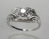 Antique Old European Cut Diamond 18K Engagement Ring - JABEL